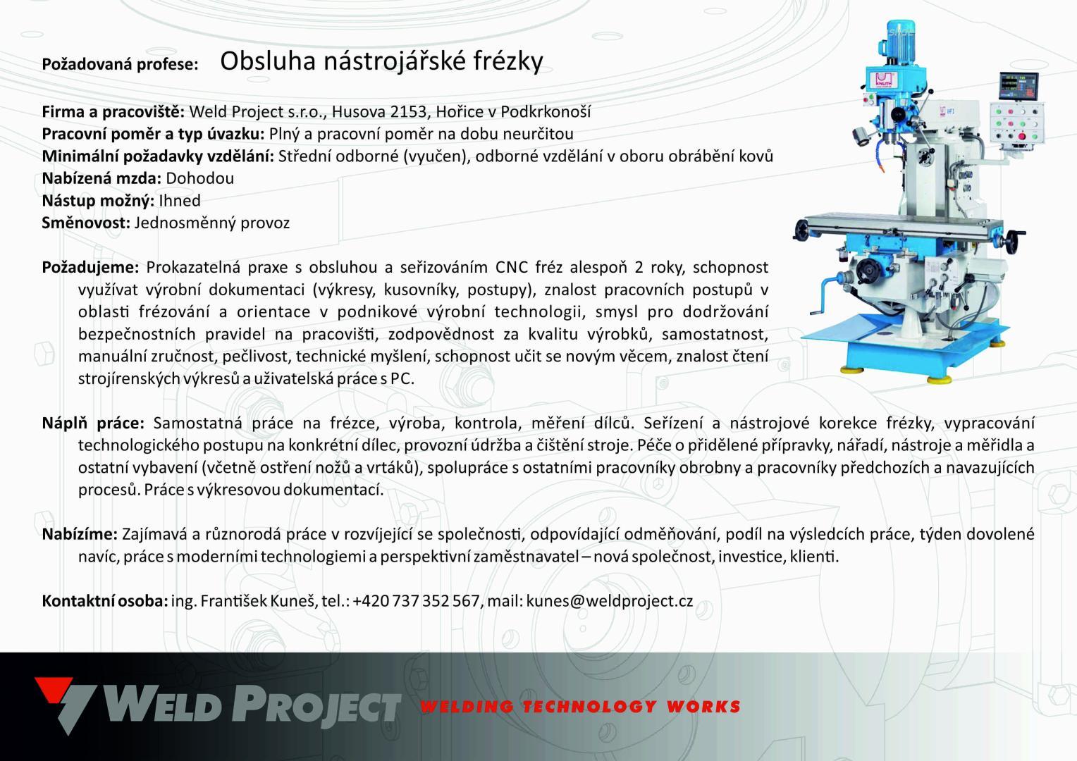 Weld Project S R O Jednoucelove Stroje Svarovaci Pripravky